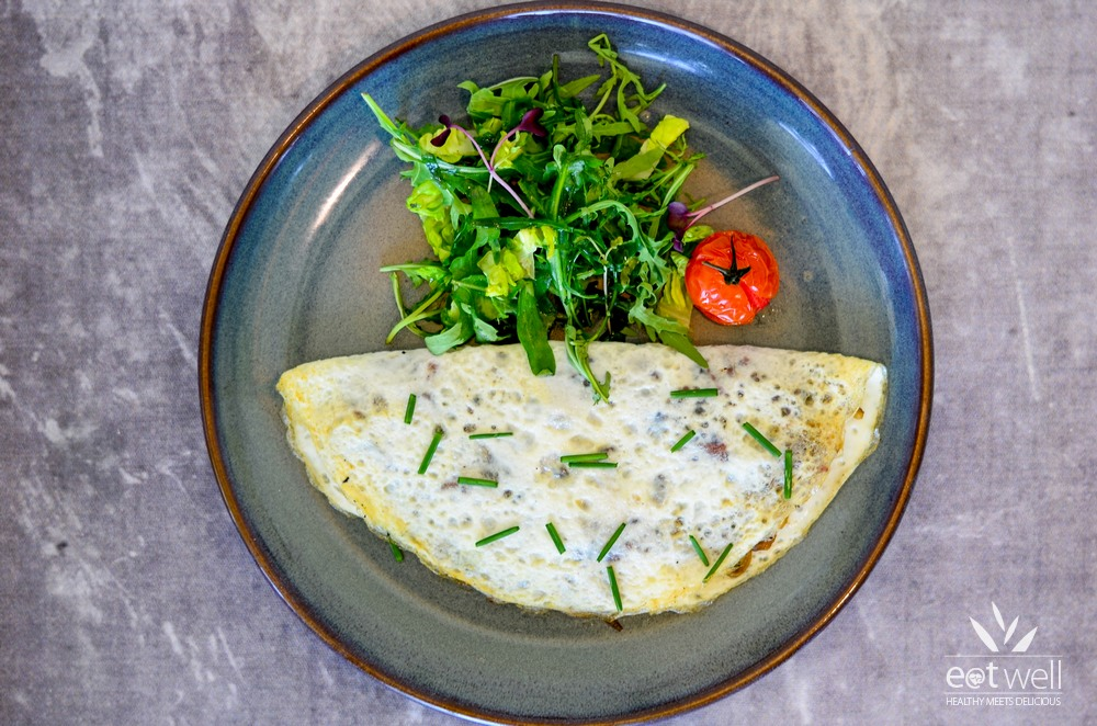 White Egg Omelette With Bacon and Mushroom