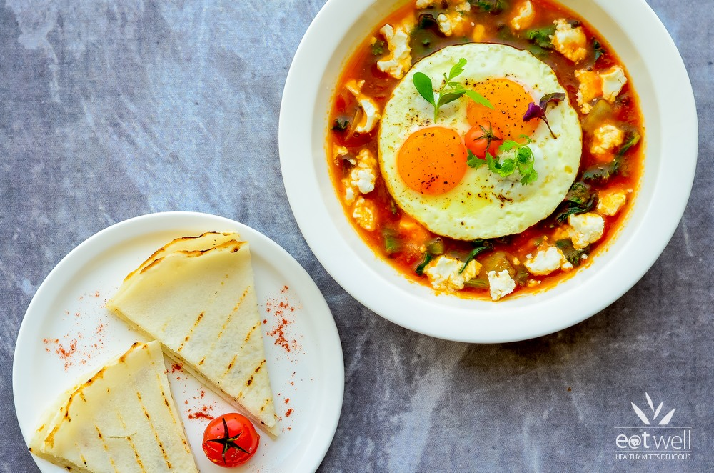 Shakshuka With Feta and Fried Eggs