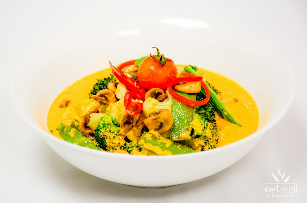 Vegan Thai Red Curry and Flat Rice Noodles